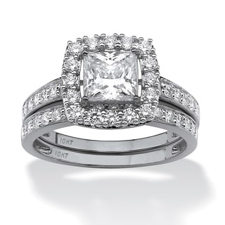 2 Piece 1.93 TCW Princess-Cut Cubic Zirconia Square Halo Bridal Ring Set in 10k White Gold
