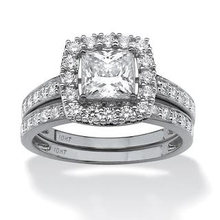 2 Piece 1.93 TCW Princess-Cut Cubic Zirconia Square Halo Bridal Ring Set in 10k White Gold|https://ak1.ostkcdn.com/images/products/9677834/P16857322.jpg?impolicy=medium