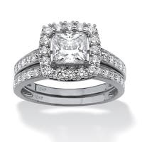 10K White Gold Cubic Zirconia Halo Bridal Ring Set