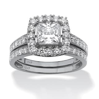 2 Piece 193 TCW Princess Cut Cubic Zirconia Square Halo Bridal Ring Set In 10k