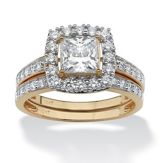 10K Yellow Gold Cubic Zirconia Halo Bridal Ring Set - White