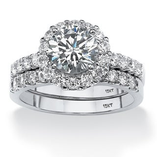 PalmBeach 2 Piece 2.71 TCW Round Cubic Zirconia Halo Bridal Ring Set in 10k White Gold Classic CZ