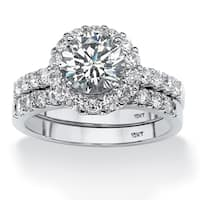 2 Piece 2.71 TCW Round Cubic Zirconia Halo Bridal Ring Set in 10k White Gold Classic CZ