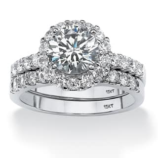 2 Piece 271 TCW Round Cubic Zirconia Halo Bridal Ring Set In 10k White Gold Classic