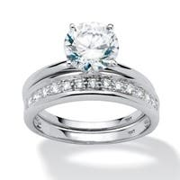 2 Piece 2.20 TCW Round Cubic Zirconia Bridal Ring Set in 10k White Gold Classic CZ