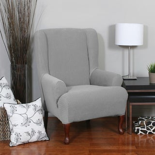 QuickCover Spencer 1 Piece Stretch Wing Chair Slipcover