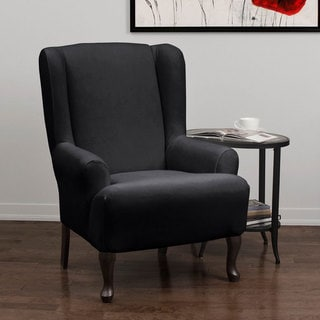 Stretch Velvet 1-piece Form Fit Wing Chair Slipcover
