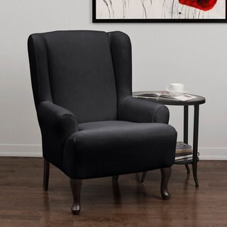 QuickCover Stretch Velvet 1-piece Form Fit Wing Chair Slipcover