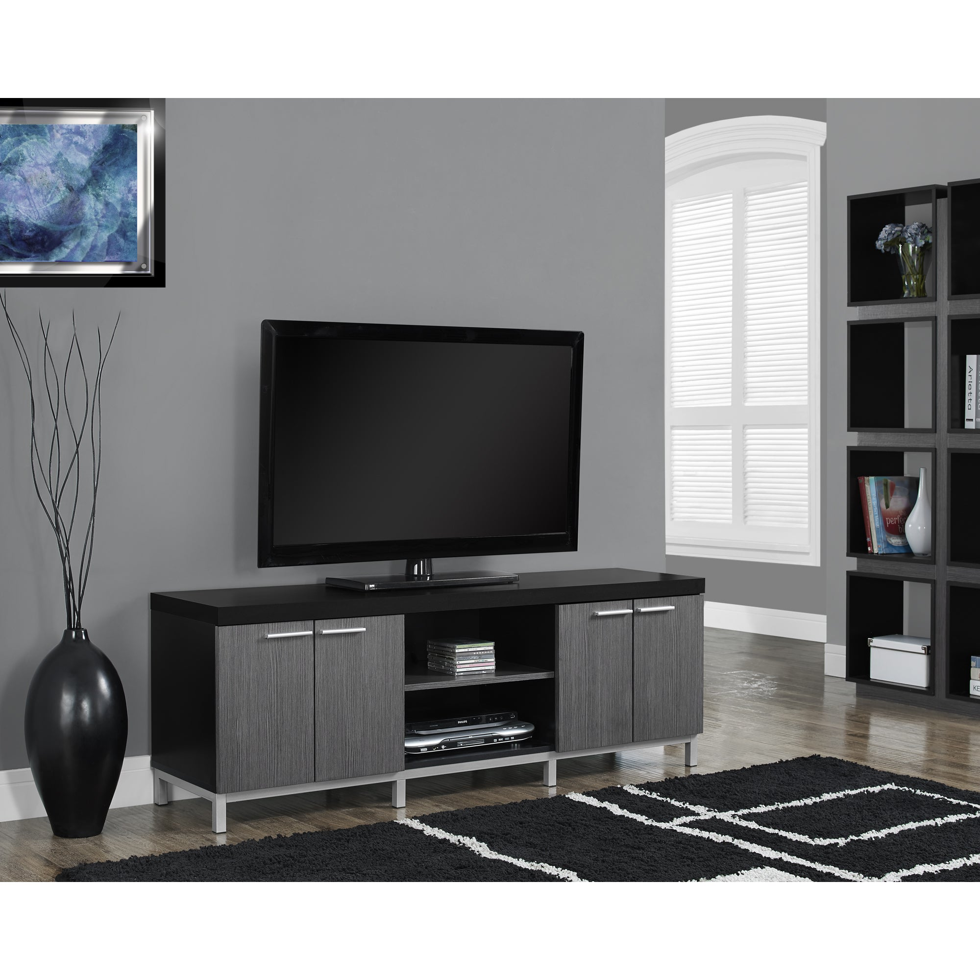 Black and Grey Hollow core 60 inch TV Console