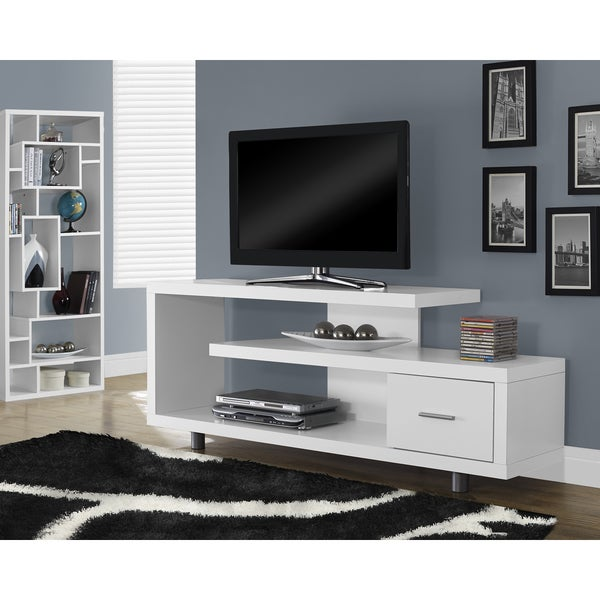 White Hollow Core 60 Inch Tv Console Free Shipping Today Overstock Com 16857394