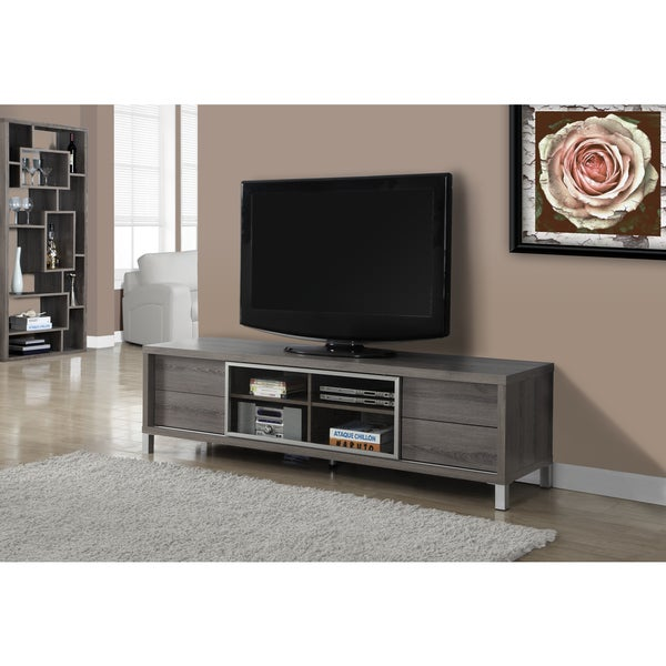 Dark taupe reclaimed look 70 inch euro tv console free for 70 inch console table