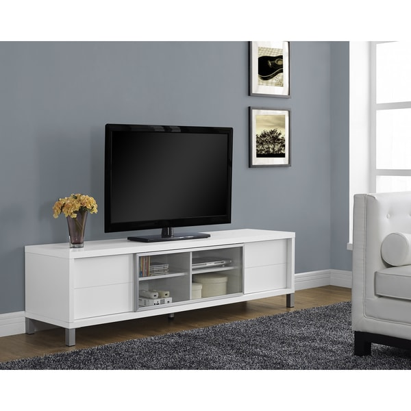 White hollow core 70 inch euro tv console free shipping for Meuble console tv