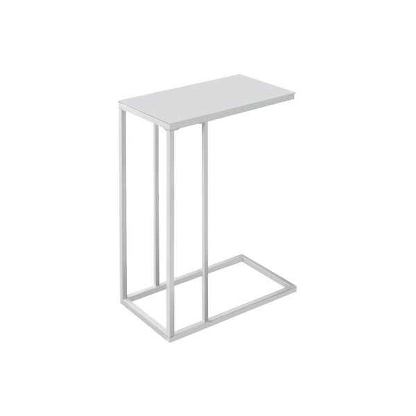 Shop White Metal Frosted Tempered Glass Accent Table