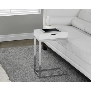 Chrome Metal White Accent Table