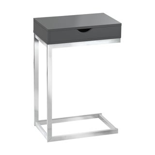 Chrome Metal Glossy Grey Hollow-core Accent Table