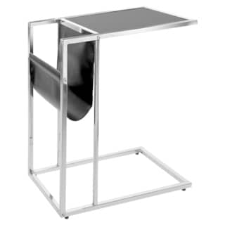Chrome Metal Black Accent Table with Magazine Holder