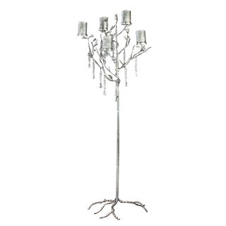 Metal Decorative Candle Tree with Beaded Accents