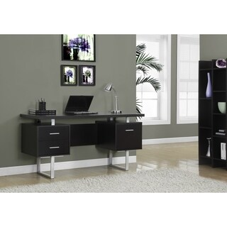 Cappuccino Hollow-core Silver Metal 60-inch Office Desk