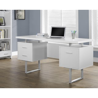 White Hollow-core Silver Metal 60-inch Office Desk