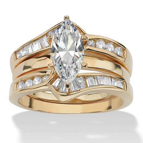 Yellow Gold over Sterling Silver Cubic Zirconia 2-Piece Bridal Set - White
