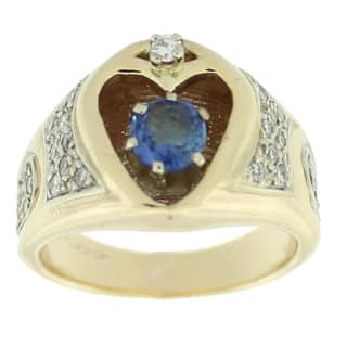 Suzy Levian Vintage 14k Yellow Gold 3/5ct TDW Diamond and Sapphire Heart Two-tone Ring|https://ak1.ostkcdn.com/images/products/9677945/P16857412.jpg?impolicy=medium