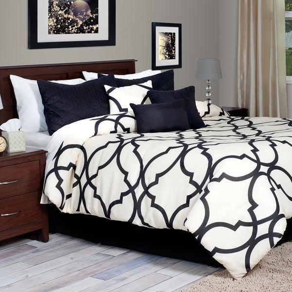 Lavish Home White Trellis Pattern 7 Piece Comforter Set