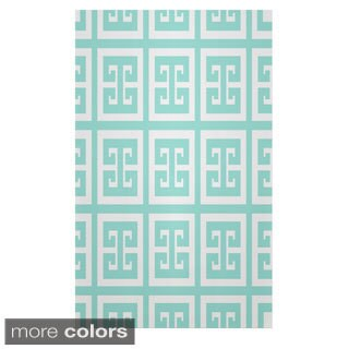 Geometric Greek Key Polyester Area Rug (4' x 6')