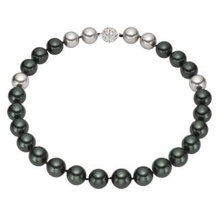 Pearlyta Sterling Silver Round Black and Grey Shell Pearl Strand Necklace (14 mm)
