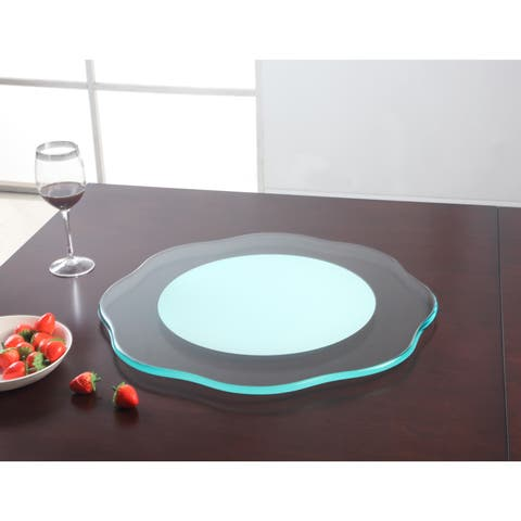 Somette Flower Shaped 24-inch Round Glass Rotating Tray