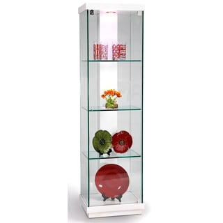 Somette Modern White Gloss Accent Glass Curio