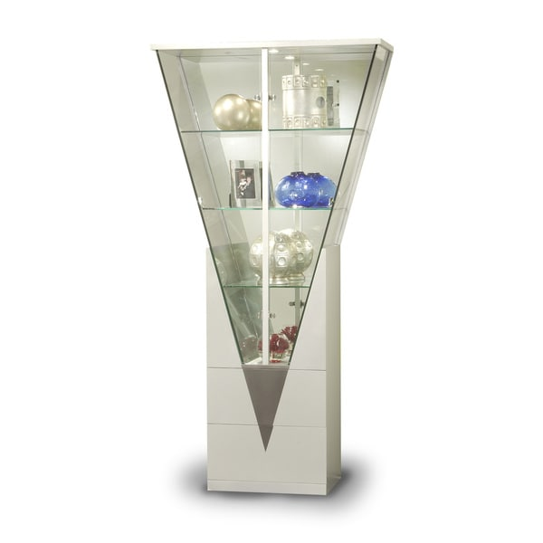 Somette Modern Light Silver Mirrored Interior Triangular