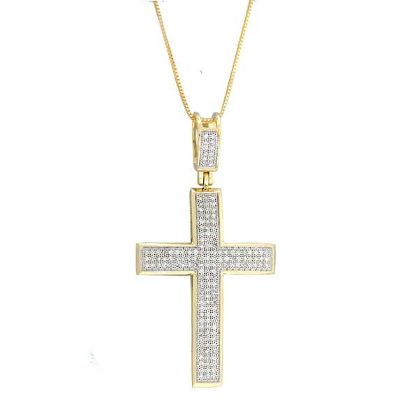 14k Yellow, White Gold 1/2ct. TDW Diamond Cross Necklace with Pendant