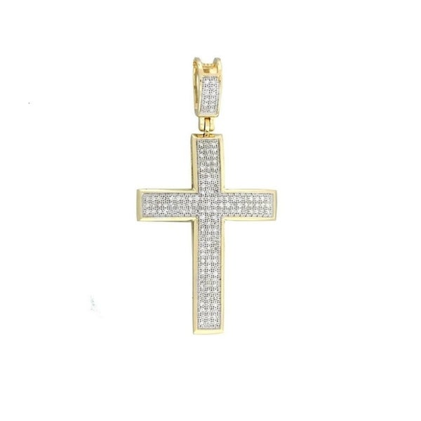 650383c60be15b Shop 14k Yellow, White Gold 1/2ct. TDW Diamond Cross Necklace with ...