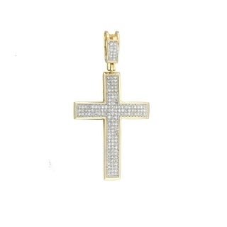 14k Yellow, White Gold 1/2ct. TDW Diamond Cross Necklace with Pendant