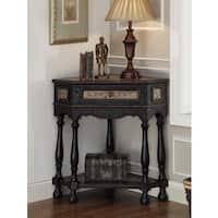 Etlan Black 1-Drawer Corner Table