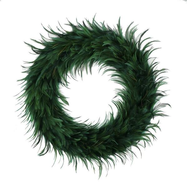 Hackle 24-inch Holiday Wreath Peacock Feathers. Opens flyout.