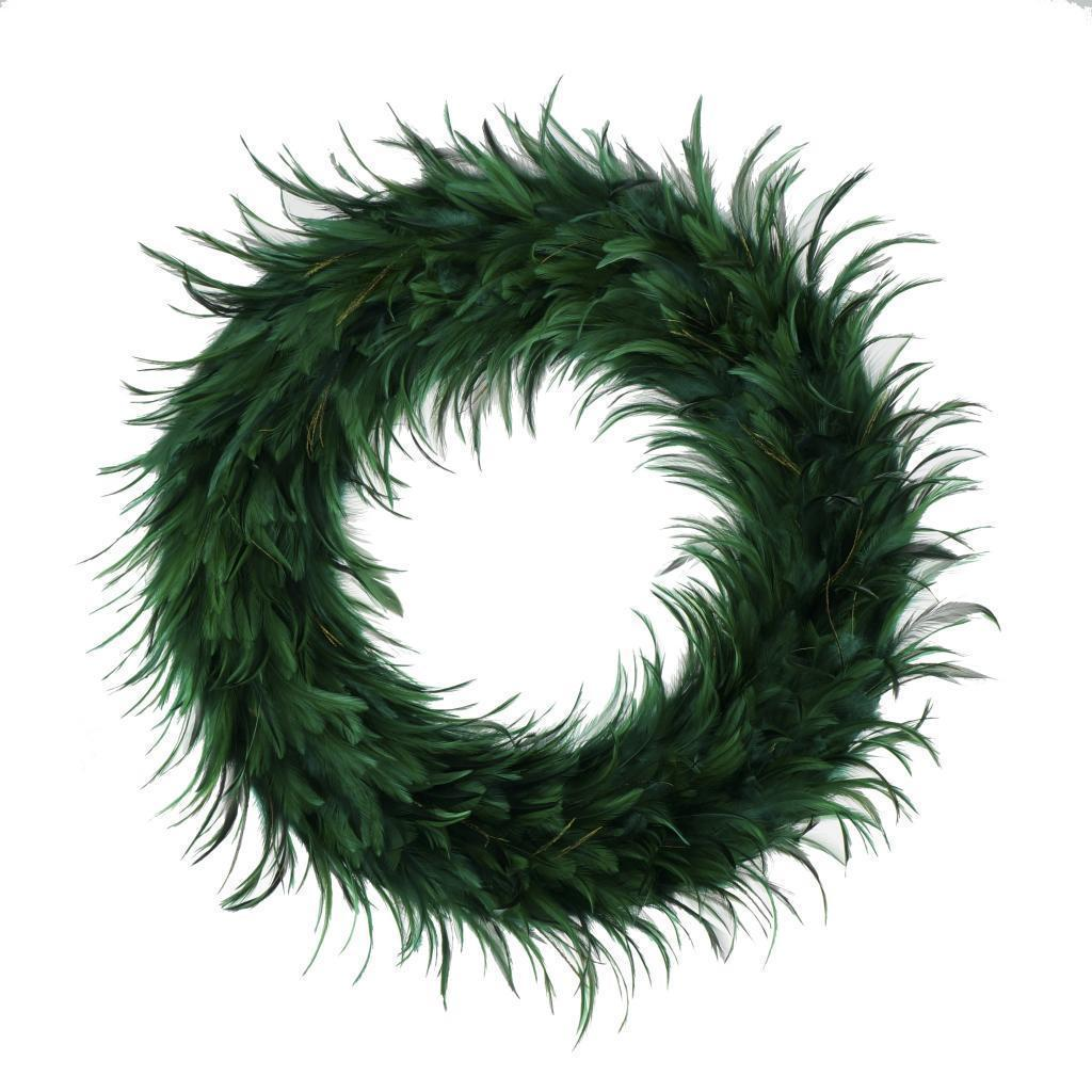 Hackle 24-inch Holiday Wreath Peacock Feathers (Emerald G...