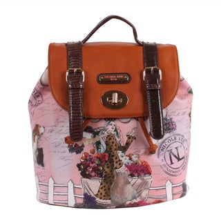Nicole Lee Flower Leopard Print Backpack