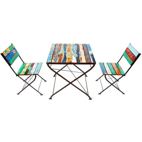 Teak for Two Reclaimed Wood 3-piece Bistro Set