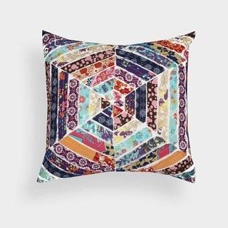 Hexagon Pattern Patchwork Designer 18-inch Throw pillow