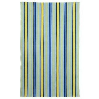 Hand-woven Serene Indo Heritage Blue/ Lemon Drop Rug (6' x 9')