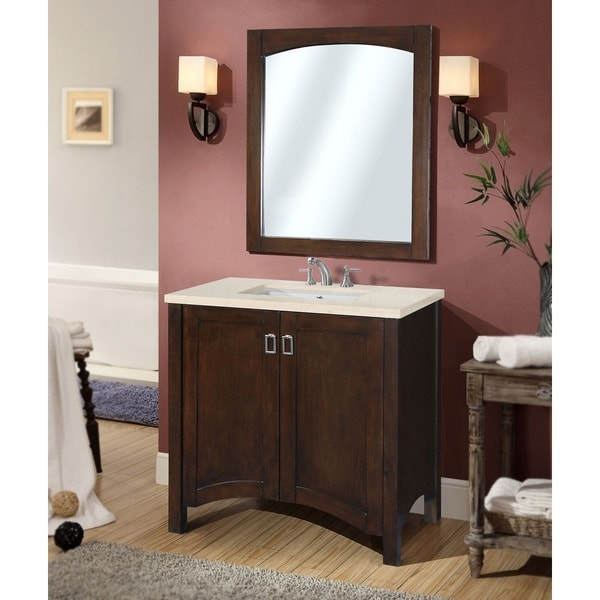 contemporary 36 inch bellagio beige marble top single sink bathroom vanity with framed arched mirror