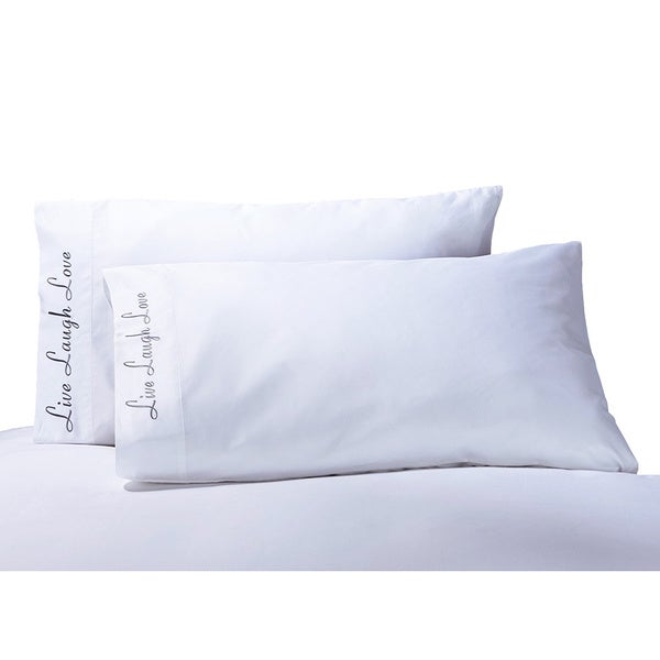 Superior Cotton 'Live, Love, Laugh' Embroidered 500 Thread Count Pillowcase (Set of 2)