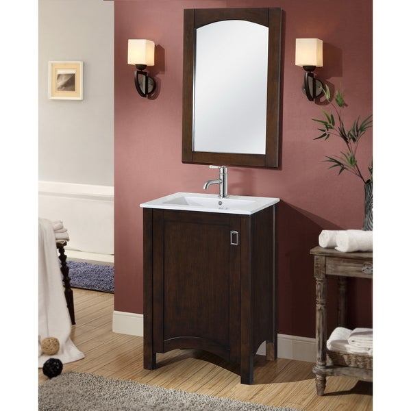 Contemporary 24 Inch Single Sink Bathroom Vanity With Matching Framed Arched Mirror