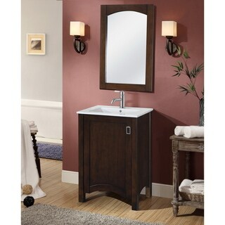 Contemporary 24-inch Single Sink Bathroom Vanity with Matching Framed Arched Mirror