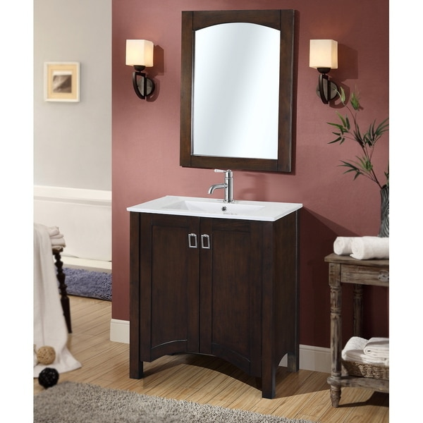 Shop Contemporary 30 Inch Single Sink Bathroom Vanity With Matching Framed Arched Mirror Free