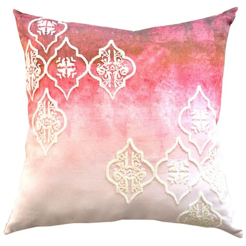 Beaded Ogee Design Ombre Decorative Designer 20-inch Throw Pillow