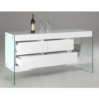 Somette Serena 4-drawer Glass Side Panel Buffet