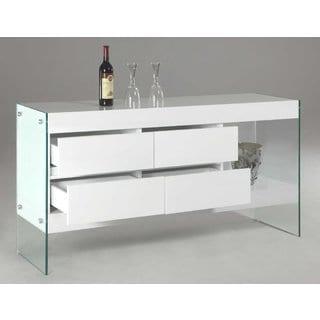 Somette Serena 4-drawer Glass Side Panel Buffet
