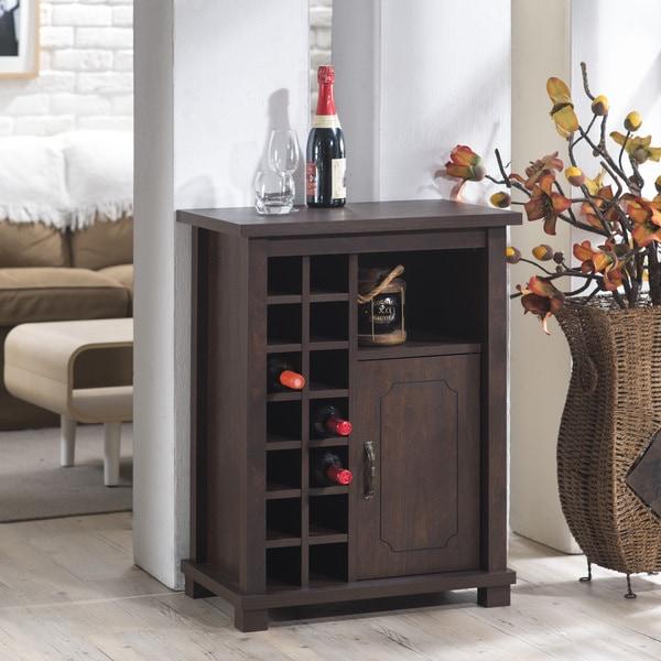 Furniture of America Eddard Vintage Walnut 14 bottle Wine